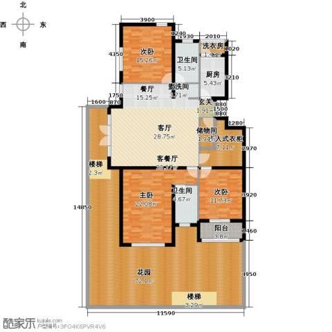 浦江国际3室1厅2卫1厨189.95㎡户型图