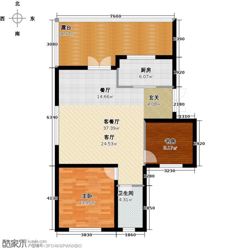 浦江国际139.00㎡浦江国际L6-01户型2室2厅2卫1户型2室2厅1卫