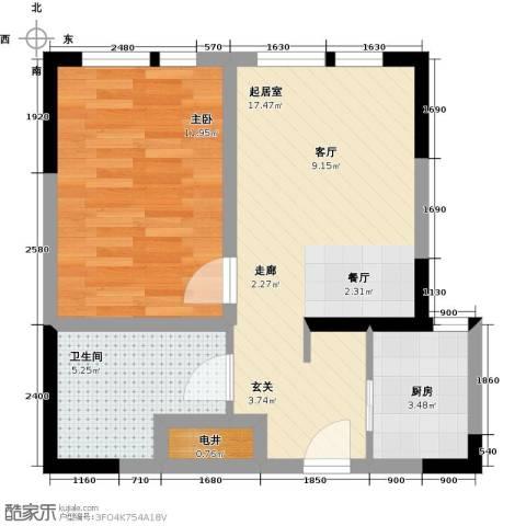 DHouse名爵汇1室0厅1卫1厨65.00㎡户型图