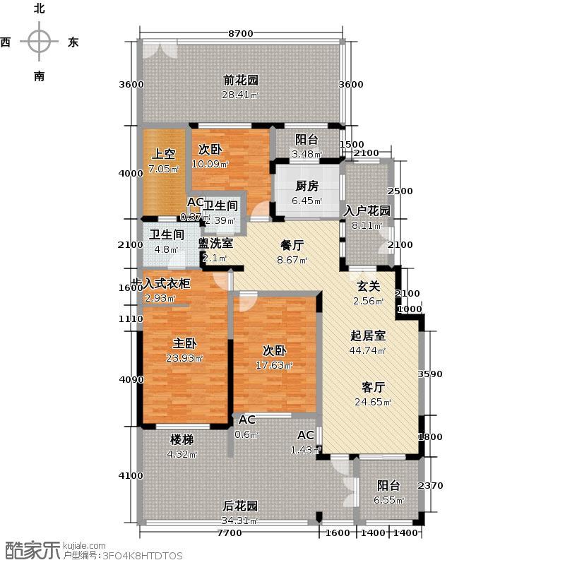高鑫天麓166.47㎡A户型三房两厅两卫户型3室2厅2卫