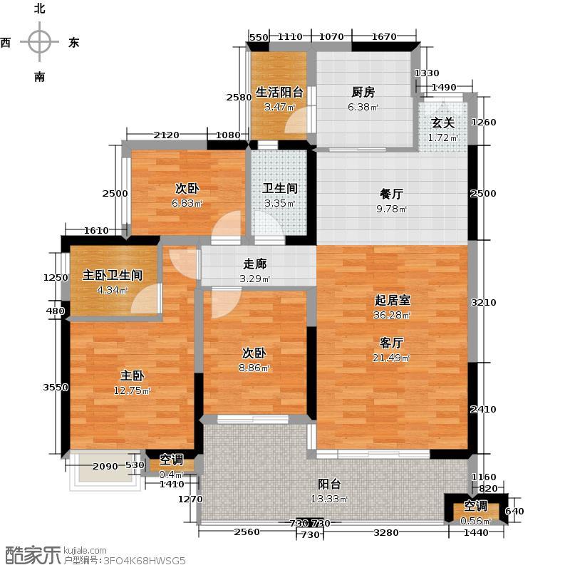 淘金家园C组团C5-1栋02户型3室1卫1厨