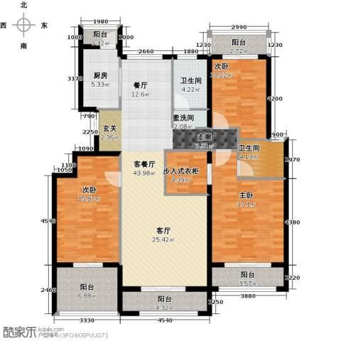 浦江国际3室1厅2卫1厨124.07㎡户型图