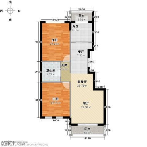 浦江国际2室1厅1卫1厨72.75㎡户型图