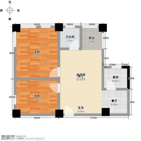 金山俪园2室0厅1卫1厨73.00㎡户型图