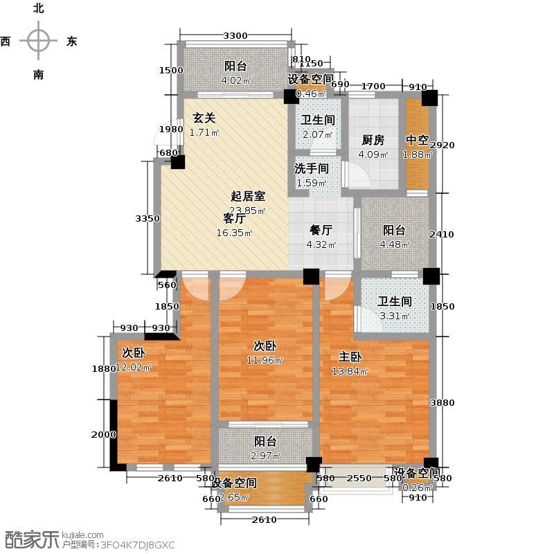 金山俪园118.79㎡2栋B户型3室2厅2卫