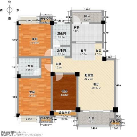 金山俪园3室0厅2卫1厨116.00㎡户型图