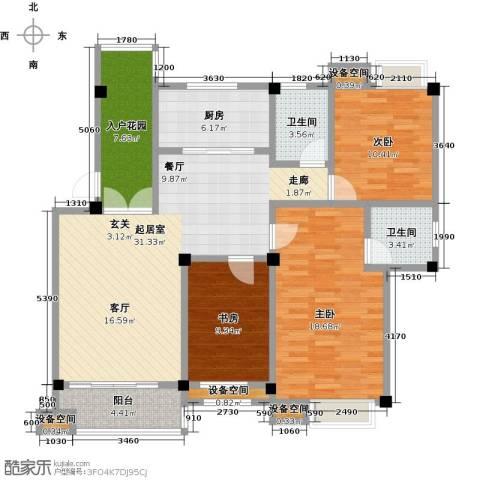 金山俪园3室0厅2卫1厨118.00㎡户型图