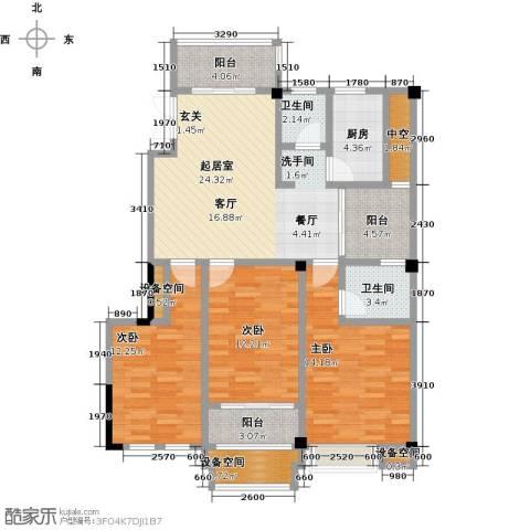 金山俪园3室0厅2卫1厨119.00㎡户型图