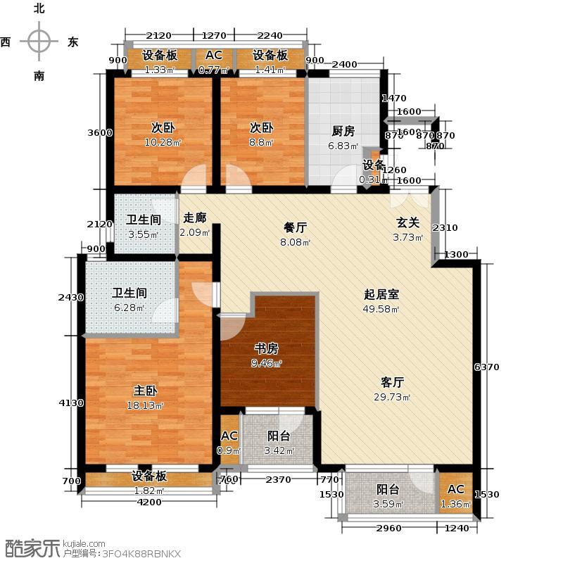 领秀新硅谷154.00㎡情景洋房2F四室两厅两卫户型