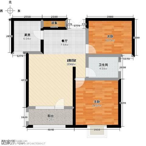 天一海尚阳光2室0厅1卫1厨87.00㎡户型图