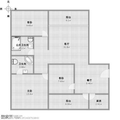 盈富馨园3室1厅1卫1厨116.00㎡户型图