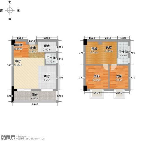 五洲国际电子城2室0厅2卫0厨62.00㎡户型图