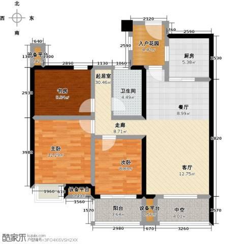 昆承湖国际花园3室0厅1卫1厨124.00㎡户型图