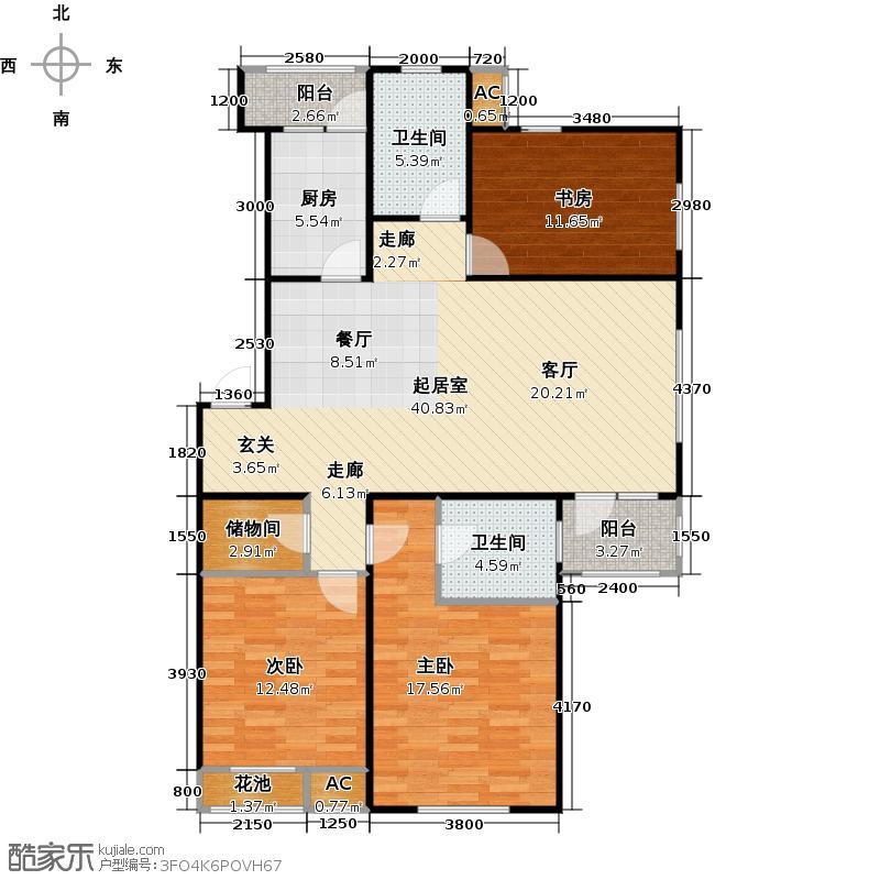 滨才城95-A-2 三室二厅二卫 94.8米户型