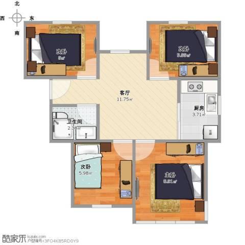 采荷青荷苑4室1厅1卫1厨62.00㎡户型图