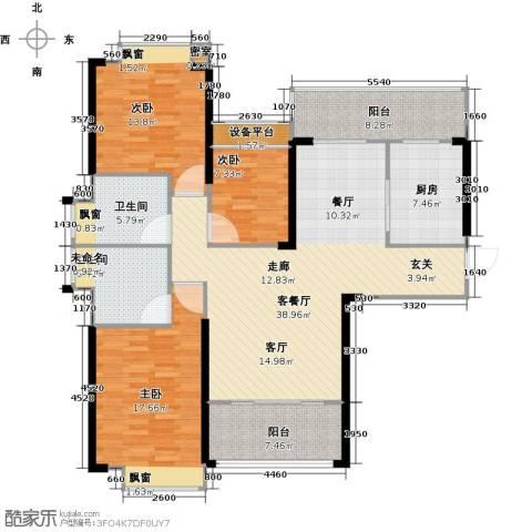 御水湾3室1厅2卫1厨127.00㎡户型图