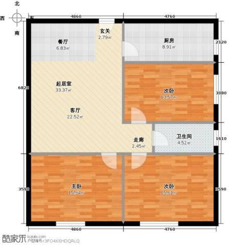 石家庄紫金大厦3室0厅1卫1厨100.00㎡户型图