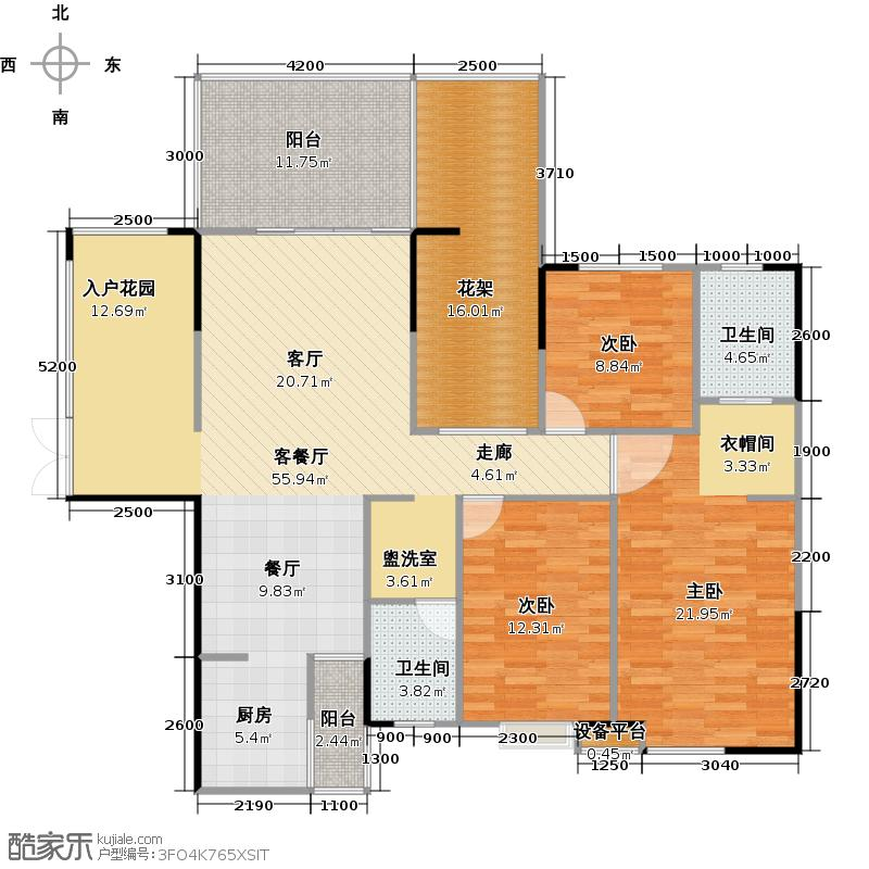 庆龙新视界户型3室1厅2卫