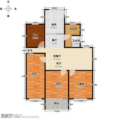 东方明珠城4室1厅1卫1厨131.00㎡户型图