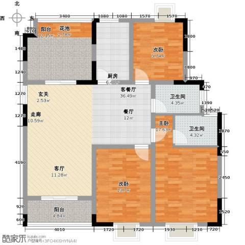 皇廷御苑3室1厅2卫1厨156.00㎡户型图