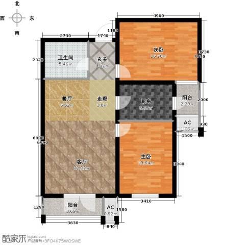 天津和平时光2室1厅1卫1厨93.00㎡户型图