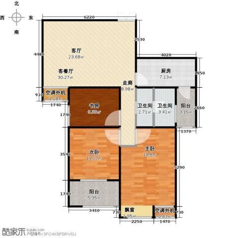 恒隆广场3室1厅2卫1厨125.00㎡户型图