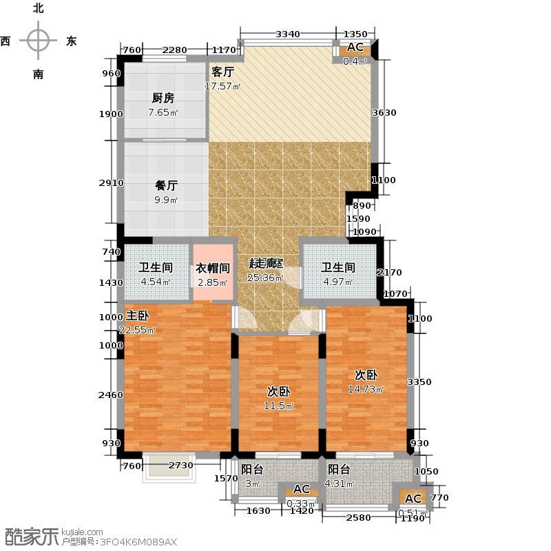 历山名郡一期三室二厅二卫161.04平米户型