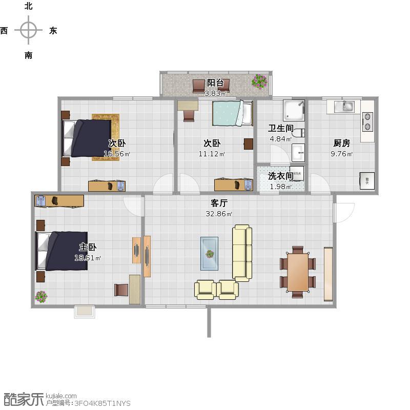 115三室两厅一厨一卫