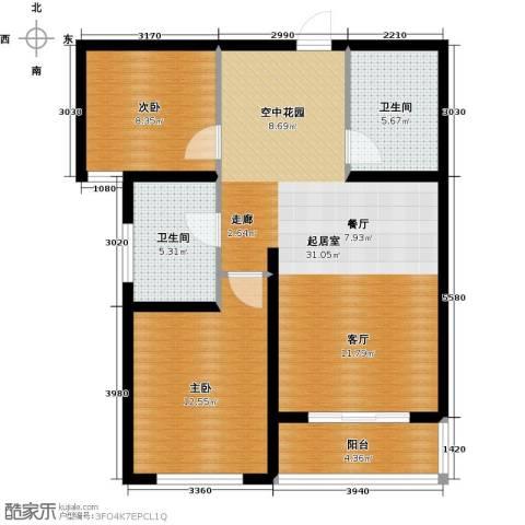 顺平水木清华2室0厅2卫0厨76.41㎡户型图