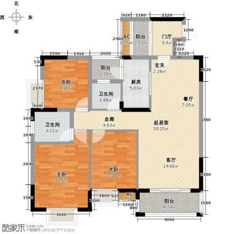 东兴边贸中心北仑华府3室0厅2卫1厨120.00㎡户型图