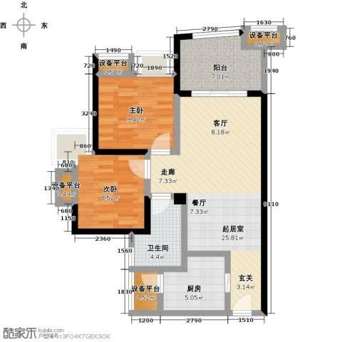 中融金湖名城,御湖2室0厅1卫1厨80.00㎡户型图
