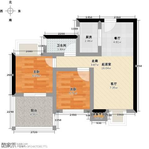 拓兴・阳光新城2室0厅1卫1厨84.00㎡户型图