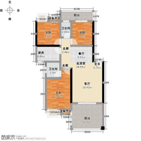 拓兴・阳光新城3室0厅2卫1厨119.00㎡户型图