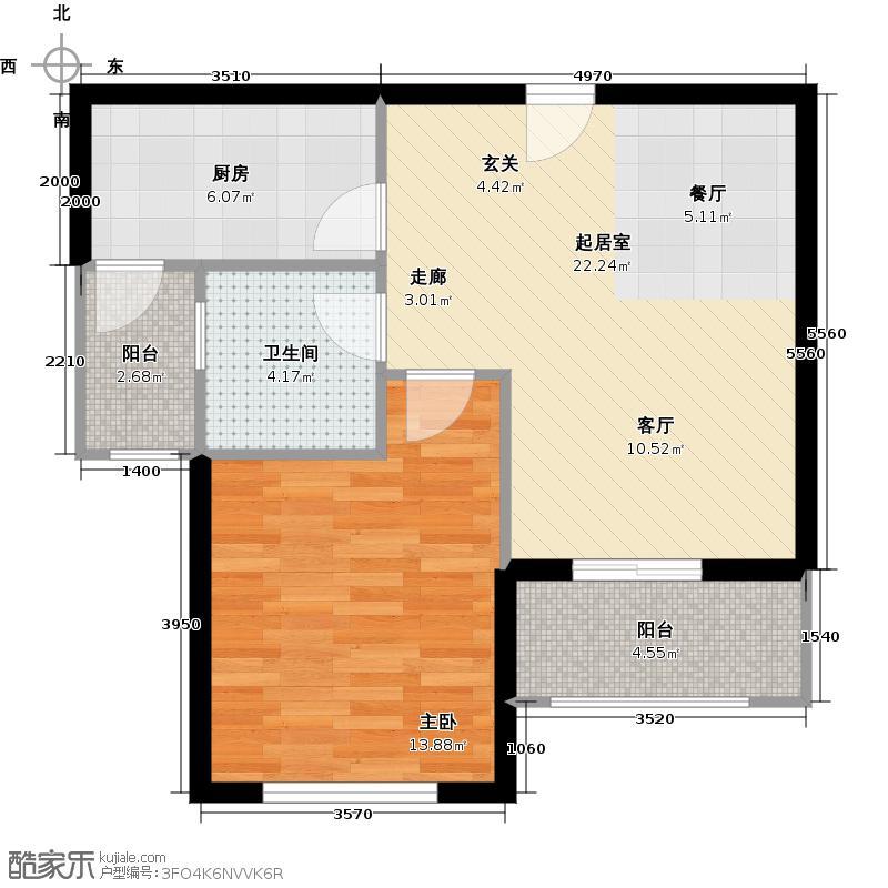 信阳建业森林半岛60.30㎡B2户型1室1厅1卫