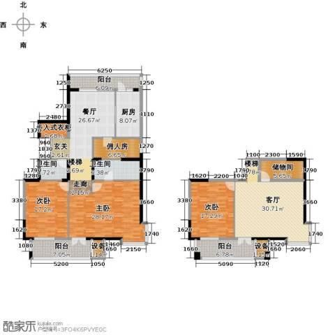 浦江国际3室2厅2卫1厨248.00㎡户型图