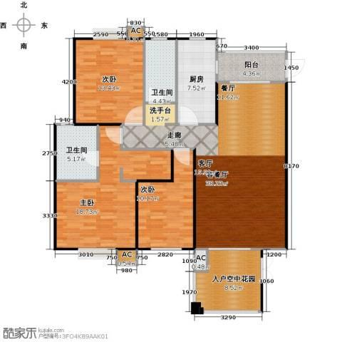 海阔天空・国瑞城3室1厅2卫1厨111.90㎡户型图
