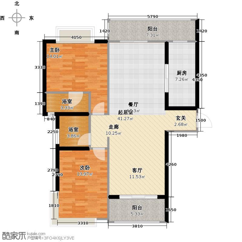 棕榈彩虹104.00㎡3幢3、4座 02单元户型2室2厅2卫