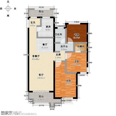 绿地外滩1号3室1厅1卫1厨119.00㎡户型图