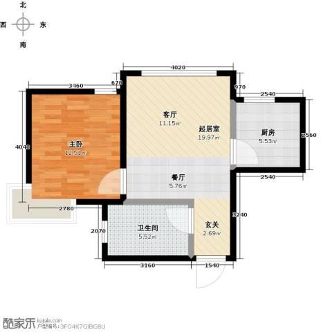蜜橙1室0厅1卫1厨49.00㎡户型图