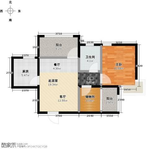 蜜橙1室0厅1卫1厨61.00㎡户型图