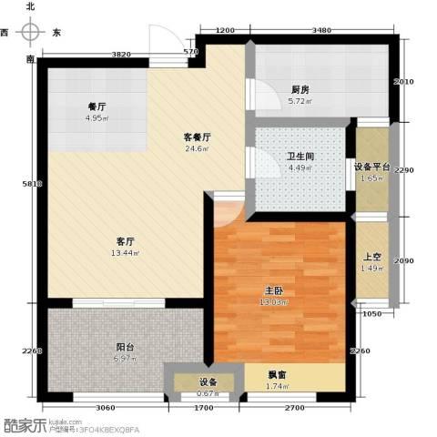 绿地外滩1号1室1厅1卫1厨69.00㎡户型图