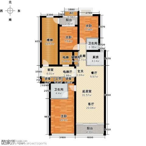 鲁商中心3室0厅2卫1厨150.00㎡户型图