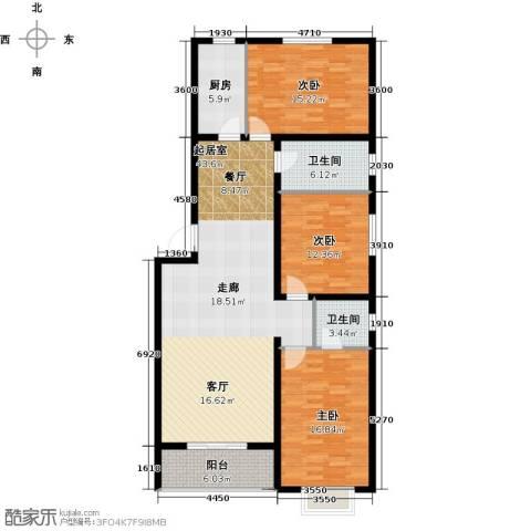 尚品名城3室0厅2卫1厨153.00㎡户型图