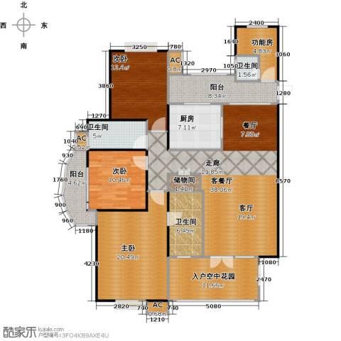 海阔天空・国瑞城3室1厅3卫1厨170.00㎡户型图
