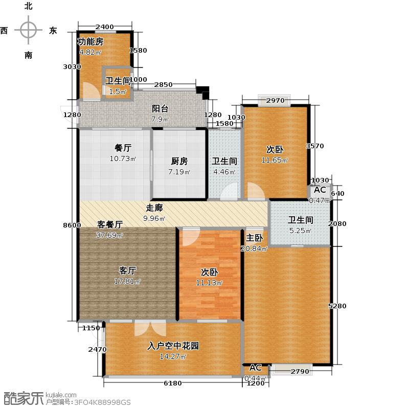 海阔天空・国瑞城162.20㎡C5户型三房两厅户型3室2厅2卫