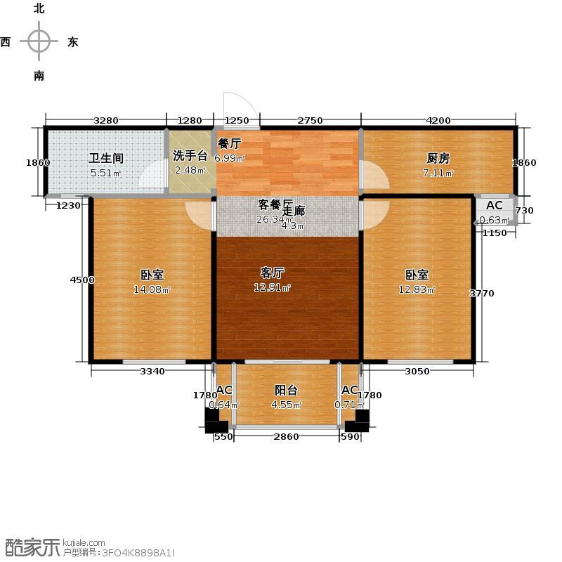海阔天空・国瑞城92.70㎡B5户型两房两厅户型2室2厅1卫