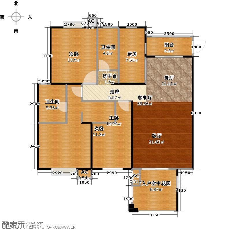 海阔天空・国瑞城149.80㎡三房两厅户型3室2厅2卫