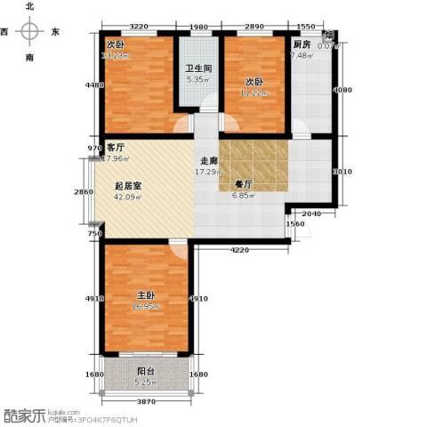 朗月蓝庭3室0厅1卫1厨124.00㎡户型图
