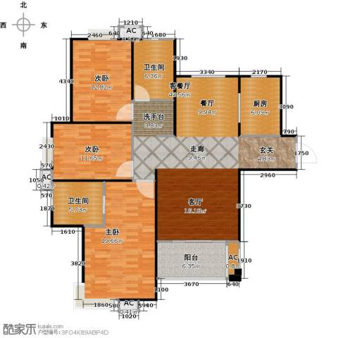 海阔天空・国瑞城3室1厅2卫1厨143.00㎡户型图