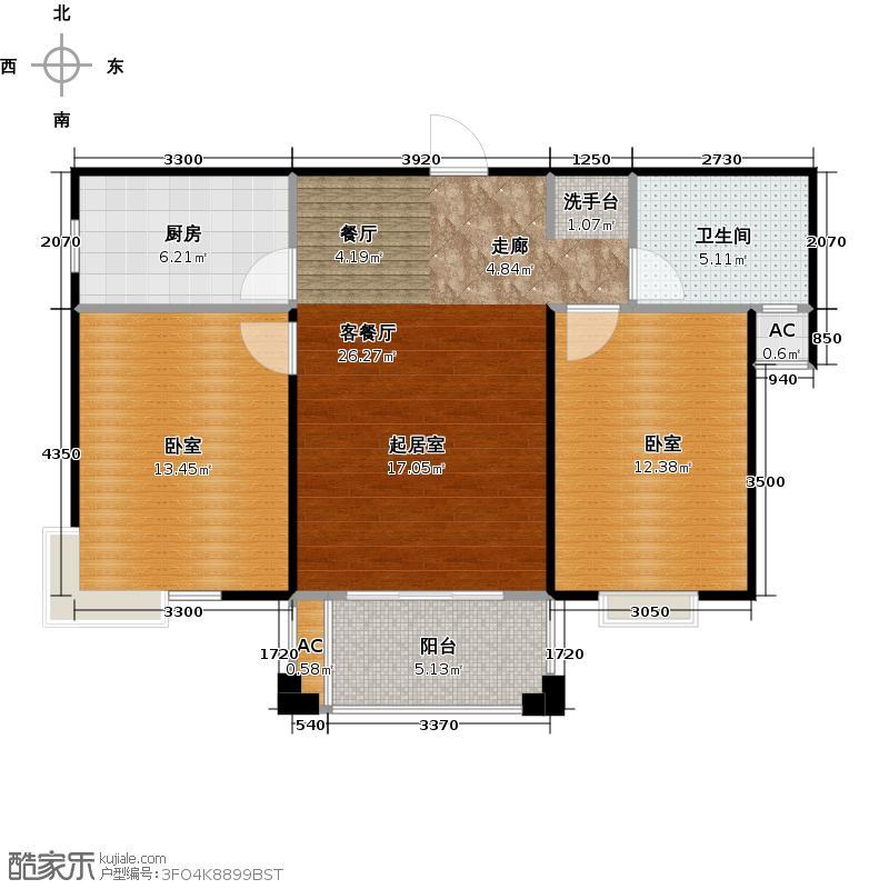 海阔天空・国瑞城94.50㎡B2户型二房二厅户型2室2厅1卫